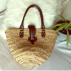 Woven Straw Shoulder Tote Bag with Zipper